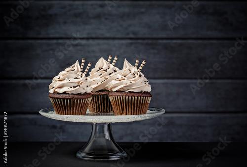 Three Chocolate Cupcakes Wallpaper Mural