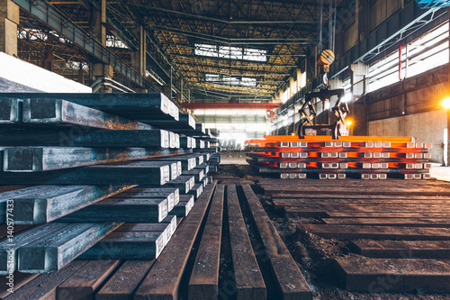 interior view of a steel factory,steel industry in city of China. Wallpaper Mural