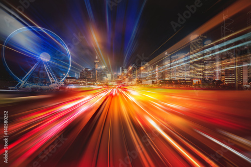 Motion speed Hong Kong Night City Illustration