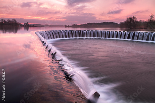 Lippesee dam-View over a Lippesee with dam Paderborn, North Rhine-Westphalia, Ge Canvas Print