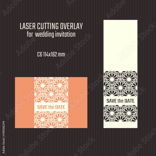Fototapety, obrazy: DIY laser cutting overlay. Wedding die cut template. Cutout silhouette card. Scrapbook carved paperwork. Vector Save the Date invitation.