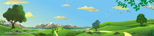 Foto op Aluminium Blauw Panorama of nature - mountain, river, and hills with trees. Vector illustration