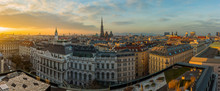 Vienna Skyline Panorama At Sun...