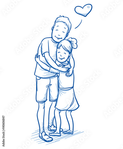 Happy Young Boy Hugging His Younger Sister Love Between Brothers