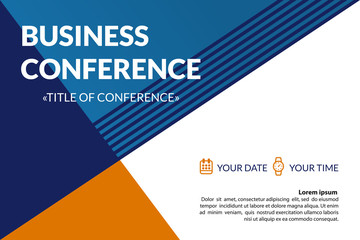 Business conference invitation concept. Colorful simple geometric background. Template for banner, poster, flyer, magazine page. Vector eps 10.