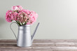 pink persian buttercup flowers. Curly peony ranunculus in Metallic gray vintage watering can, copy space.