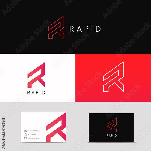 Photo  Letter R logo minimalistic sign