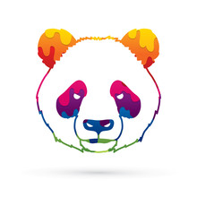 Panda Head Face Front View Designed Using Melting Colors Graphic Vector.
