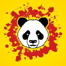 Panda Head Face Front View Designed On Splatter Blood Background Graphic Vector.