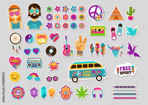 Obraz na plátně Hippie, bohemian design with icons set, stickers, pins, art fashion chic patches