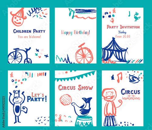Kid birthday invitation card design set with circus elements vector kid birthday invitation card design set with circus elements vector illustration stopboris Choice Image
