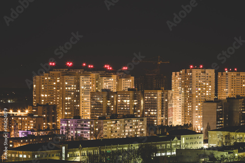 Fotografía  Night panoramic aerial winter cityscape view of living area in Voronezh city