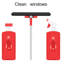 Set For Washing Window Bottles With Decorative Drop Sprayer Wiper Isolated On White Background Art Creative Vector Element For Design