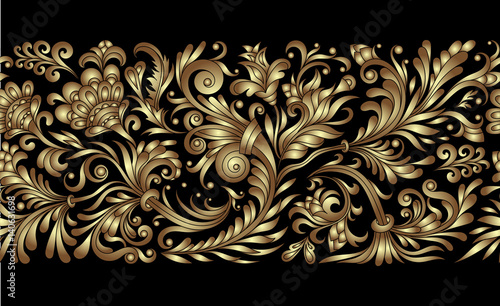 Line The Art Element : Vector ornate seamless border in eastern style. line art element for