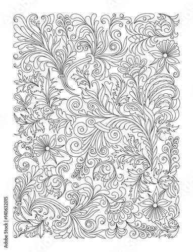 Flower Carpet In Magic Garden By Leezarius Doodle Floral Pattern Black And White Page For Coloring Book Very Interesting