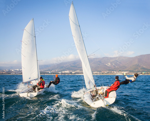 Spoed Foto op Canvas Zeilen sailing Regatta on sea