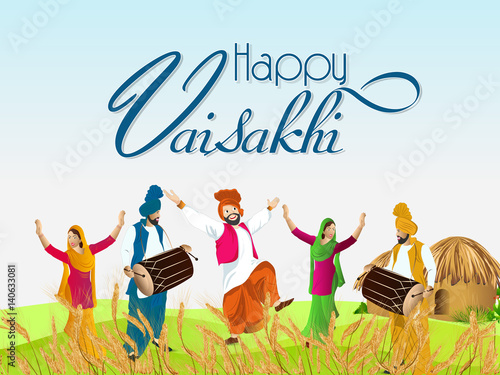 Fotografie, Obraz  creative vector abstract or poster for Baisakhi with nice and beautiful design illustration