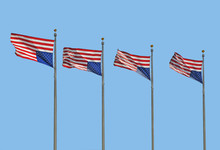 Four U.S. Flags Flying