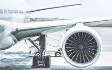 Detail Of Airplane Engine Wing...