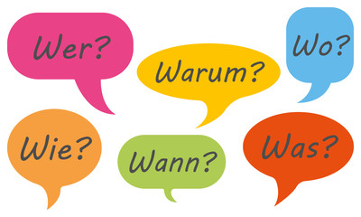 Sprechblasen mit den W-Fragen (in Bunt)