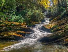Rushing Rapids In Autumn Near The Blue Ridge Parkway North Carolina