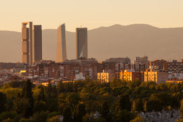 View of Madrid skyline at sunset