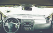 Interior view of vehicle. Modern technology car dashboard close up.