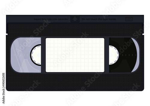 Valokuvatapetti Front of VHS video cassette. Flat vector.