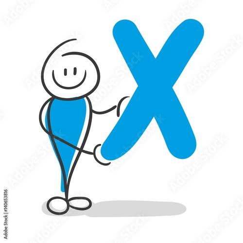 Photo  Stick Figure Series Blue / Alphabet X