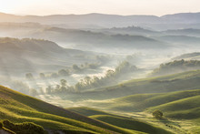 Valley With Dawn Mist In A Rolling Rural Landscape