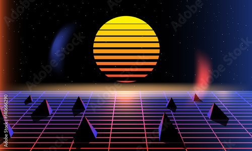 Sun, bright, synth pop light grid background  Vector Retro