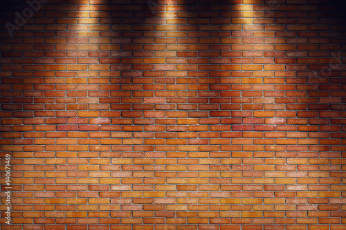 Foto op Aluminium Wand Empty grungy room with red brick wall and three spotlight rays. 3d rendering