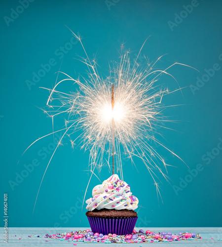 Photo  Birthday Sparkler Cupcake