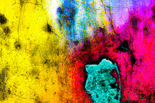 Foto auf AluDibond Graffiti Grunge color wall background texture in rainbow style