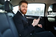 Side view of Smiling bearded business man in car