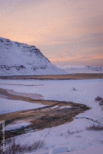 Spoed Foto op Canvas Lavendel Winter landscape near Glymur waterfall, Iceland
