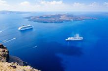 Cruise Ship On Aegean Sea, Cyclades, Greece
