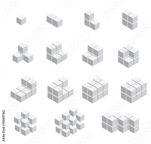 Photo Isometric cubes for 3d designing