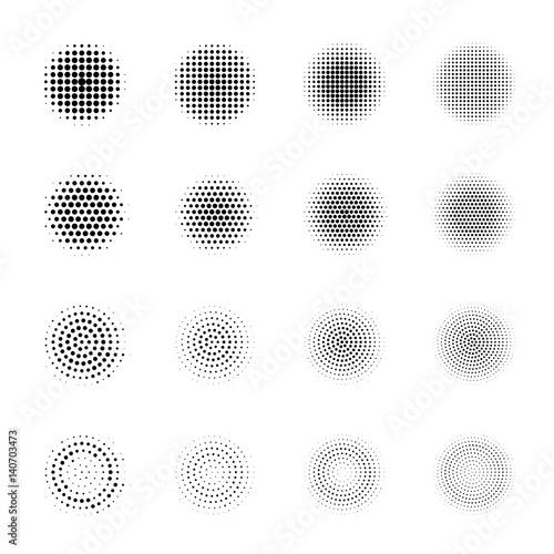 Zdjęcie XXL Set Halftone okręgi odizolowywający na białym tle Kolekcja halftone skutka kropki wzory.