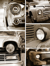 Old Rusty Cars Head Lamp Collage