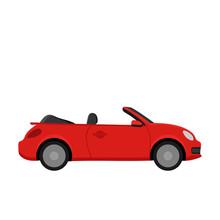 Red Car. Flat Design
