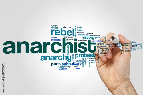 Anarchist word cloud concept on grey background Wallpaper Mural