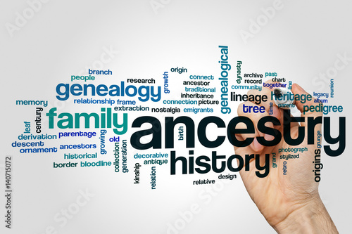 Ancestry word cloud concept on grey background Canvas Print
