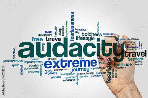 Photo Audacity word cloud concept on grey background