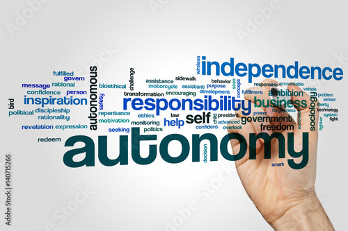 Photo Autonomy word cloud concept on grey background