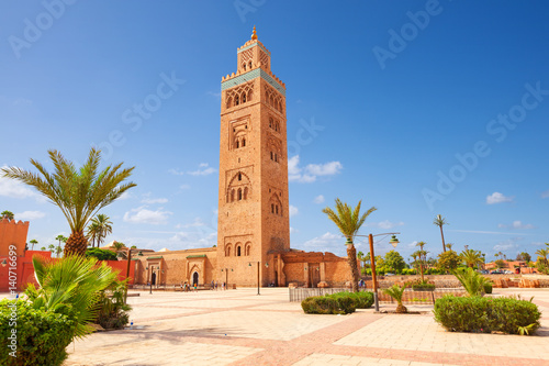 Poster Maroc Koutubia mosque in Marakech. One of most popular landmarks of Morocco