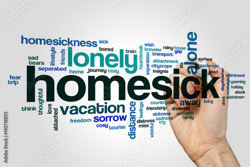 Homesick word cloud Fototapeta