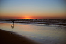 Father And Kid Stand On Beach ...