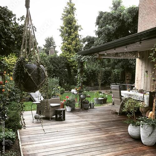 Wooden patio in a garden
