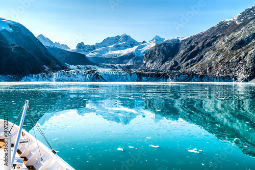 Printed kitchen splashbacks Glaciers Cruise ship in Glacier Bay cruising towards Johns Hopkins Glacier in Alaska, USA. Panoramic view during summer.